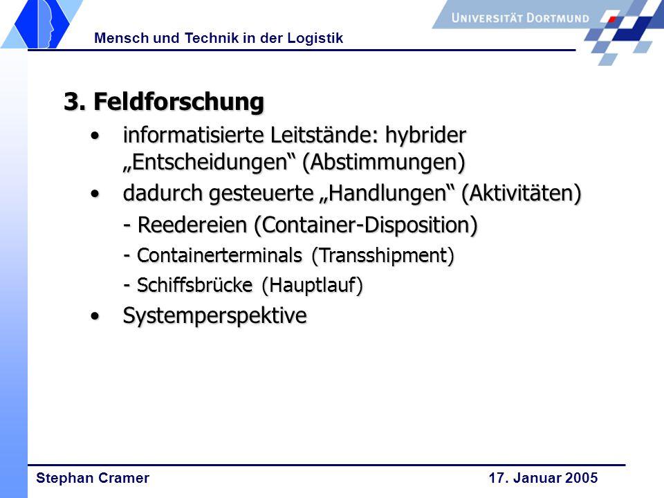 Stephan Cramer 17. Januar 2005 Mensch und Technik in der Logistik 3. Feldforschung 3. Feldforschung informatisierte Leitstände: hybrider Entscheidunge