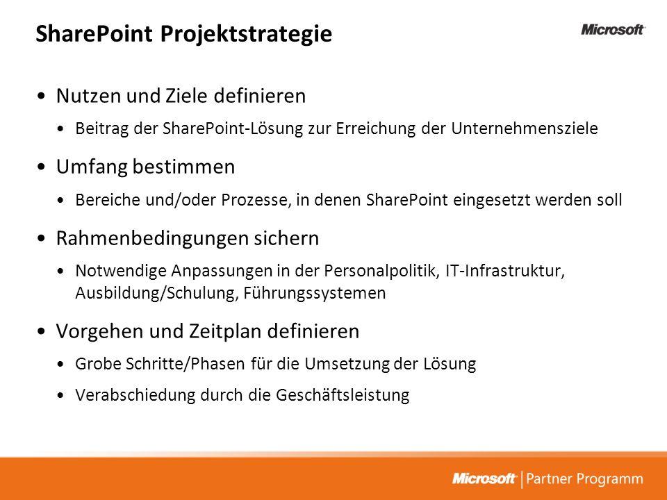 SharePoint Projektstrategie Nutzen und Ziele definieren Beitrag der SharePoint-Lösung zur Erreichung der Unternehmensziele Umfang bestimmen Bereiche u