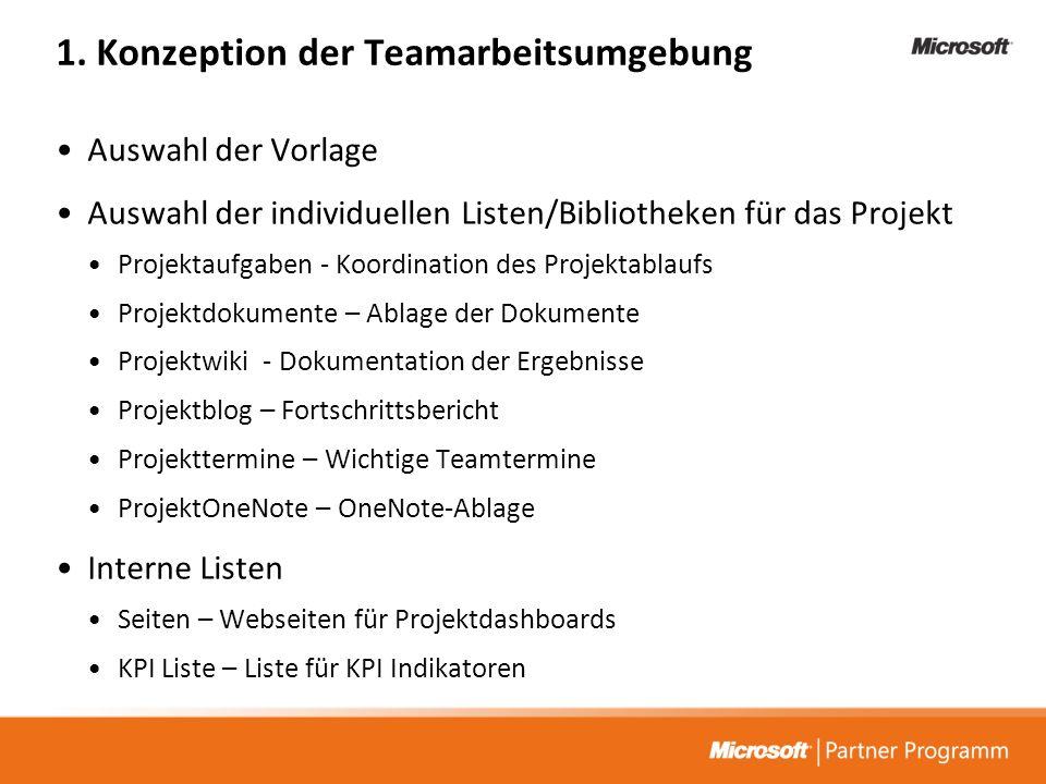 1. Konzeption der Teamarbeitsumgebung Auswahl der Vorlage Auswahl der individuellen Listen/Bibliotheken für das Projekt Projektaufgaben - Koordination