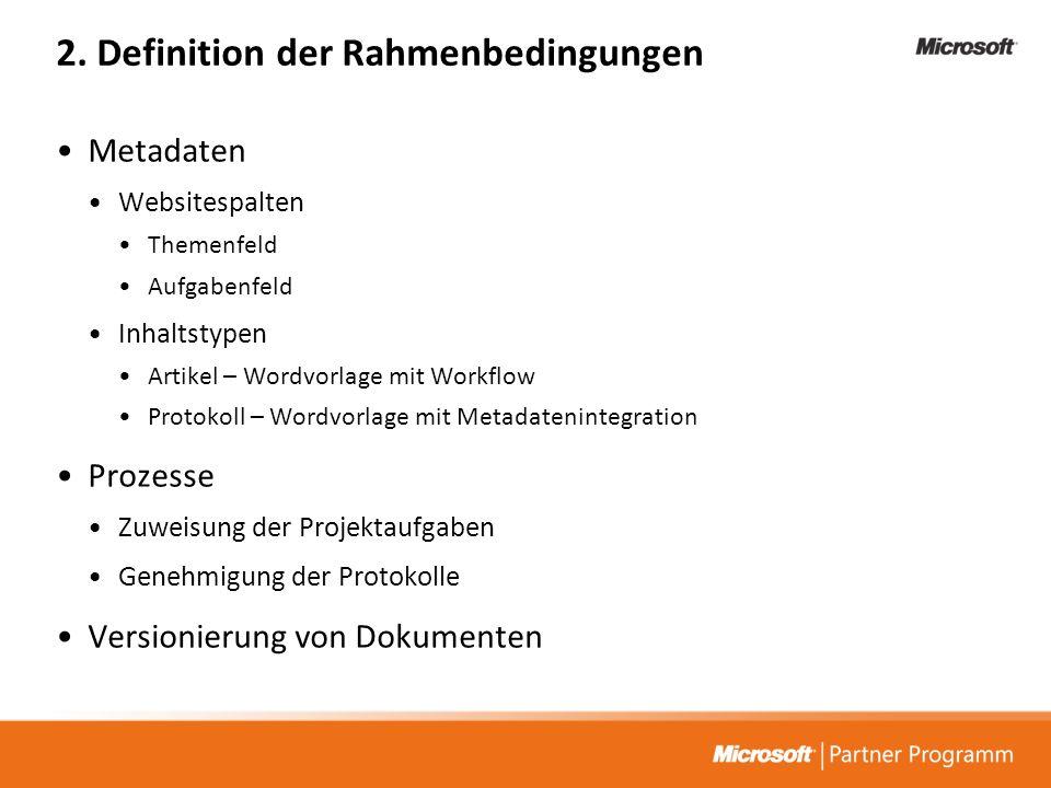 2. Definition der Rahmenbedingungen Metadaten Websitespalten Themenfeld Aufgabenfeld Inhaltstypen Artikel – Wordvorlage mit Workflow Protokoll – Wordv