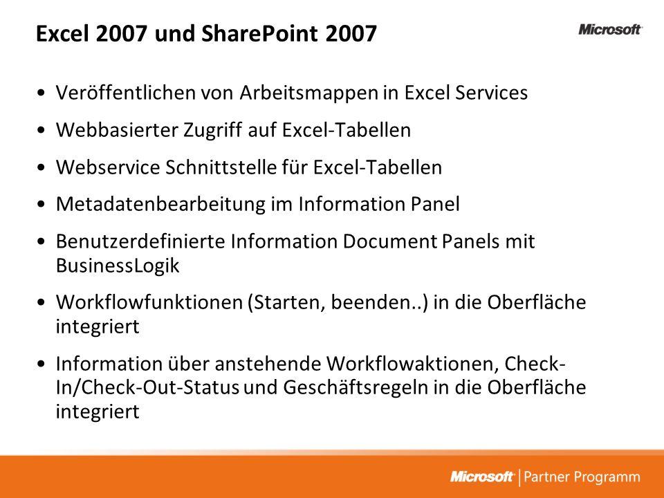 Excel 2007 und SharePoint 2007 Veröffentlichen von Arbeitsmappen in Excel Services Webbasierter Zugriff auf Excel-Tabellen Webservice Schnittstelle fü