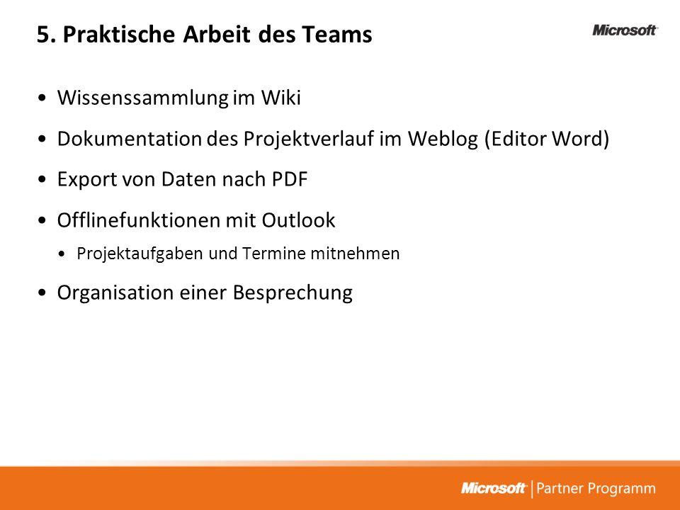 5. Praktische Arbeit des Teams Wissenssammlung im Wiki Dokumentation des Projektverlauf im Weblog (Editor Word) Export von Daten nach PDF Offlinefunkt