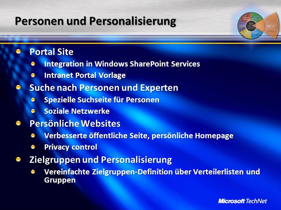 Personen und Personalisierung Portal Site Integration in Windows SharePoint Services Intranet Portal Vorlage Suche nach Personen und Experten Speziell