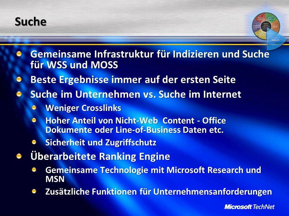 Suche Gemeinsame Infrastruktur für Indizieren und Suche für WSS und MOSS Beste Ergebnisse immer auf der ersten Seite Suche im Unternehmen vs. Suche im