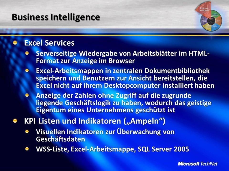 Business Intelligence Excel Services Serverseitige Wiedergabe von Arbeitsblätter im HTML- Format zur Anzeige im Browser Excel-Arbeitsmappen in zentral