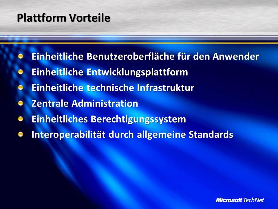 Plattform Vorteile Einheitliche Benutzeroberfläche für den Anwender Einheitliche Entwicklungsplattform Einheitliche technische Infrastruktur Zentrale