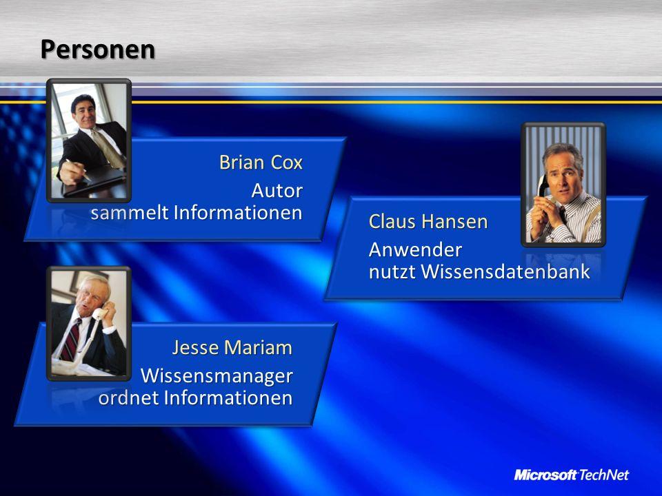Personen Brian Cox Autor sammelt Informationen Brian Cox Autor sammelt Informationen Jesse Mariam Wissensmanager ordnet Informationen Jesse Mariam Wis