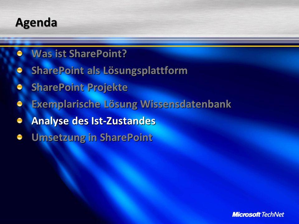 Agenda Was ist SharePoint? SharePoint als Lösungsplattform SharePoint Projekte Exemplarische Lösung Wissensdatenbank Analyse des Ist-Zustandes Umsetzu