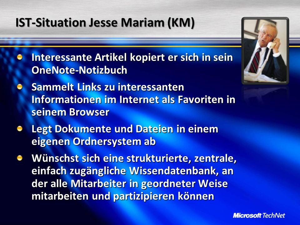 IST-Situation Jesse Mariam (KM) Interessante Artikel kopiert er sich in sein OneNote-Notizbuch Sammelt Links zu interessanten Informationen im Interne