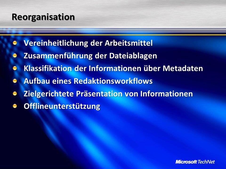 Reorganisation Vereinheitlichung der Arbeitsmittel Zusammenführung der Dateiablagen Klassifikation der Informationen über Metadaten Aufbau eines Redak