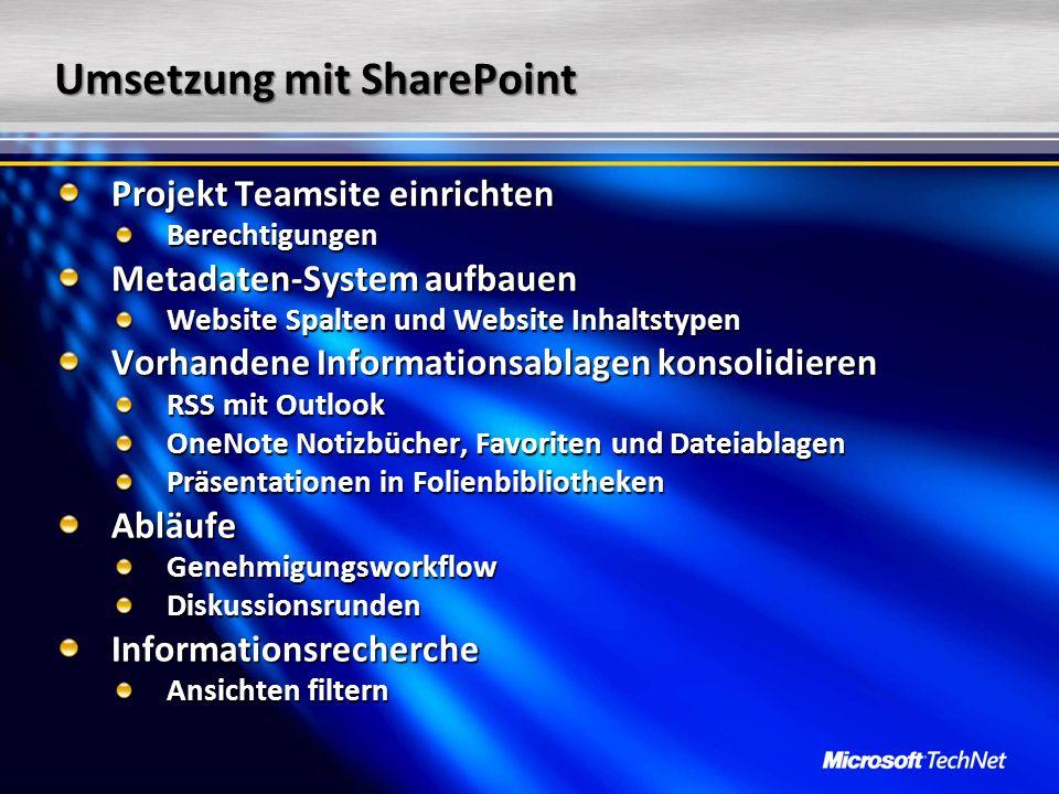 Umsetzung mit SharePoint Projekt Teamsite einrichten Berechtigungen Metadaten-System aufbauen Website Spalten und Website Inhaltstypen Vorhandene Info