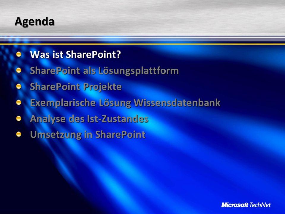 Zusammenfassung SharePoint Projekte = Organisationsprojekte Planung und Strukturierung SharePoint = Baukasten für Lösungen SharePoint Designer