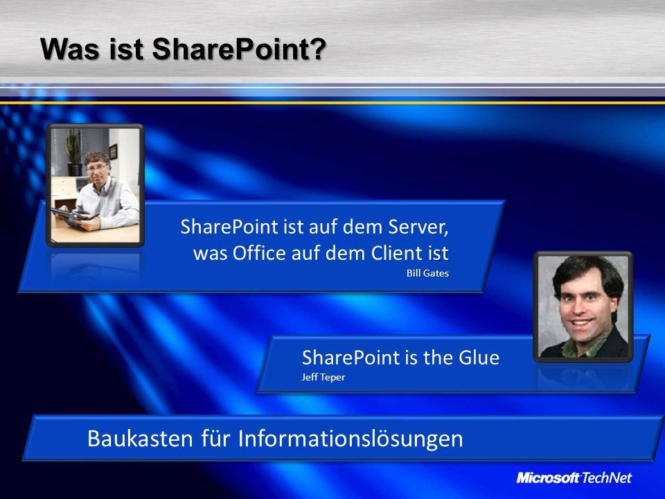 Was ist SharePoint? ist Bill Gates SharePoint ist auf dem Server, was Office auf dem Client ist Bill Gates Baukasten für Informationslösungen SharePoi