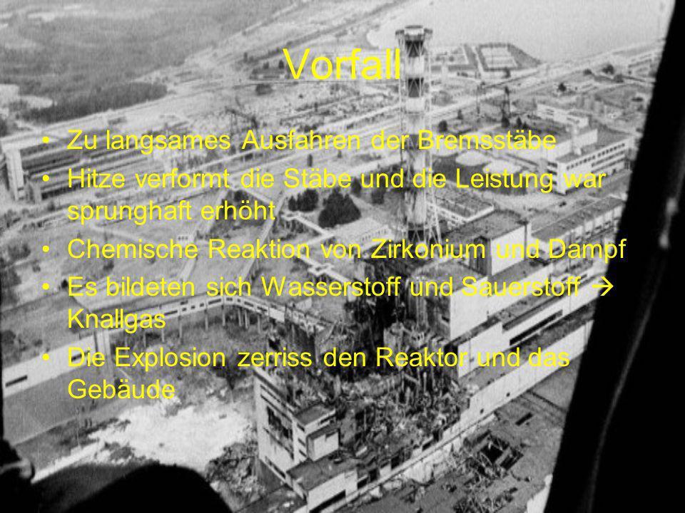 Vorfall Zu langsames Ausfahren der Bremsstäbe Hitze verformt die Stäbe und die Leistung war sprunghaft erhöht Chemische Reaktion von Zirkonium und Dampf Es bildeten sich Wasserstoff und Sauerstoff Knallgas Die Explosion zerriss den Reaktor und das Gebäude