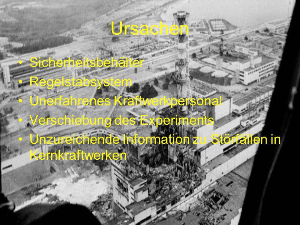 Ursachen Sicherheitsbehälter Regelstabsystem Unerfahrenes Kraftwerkpersonal Verschiebung des Experiments Unzureichende Information zu Störfällen in Ke