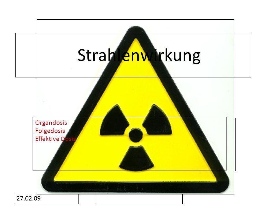 Formatvorlage des Untertitelmasters durch Klicken bearbeiten 27.02.09 Strahlenwirkung Organdosis Folgedosis Effektive Dosis
