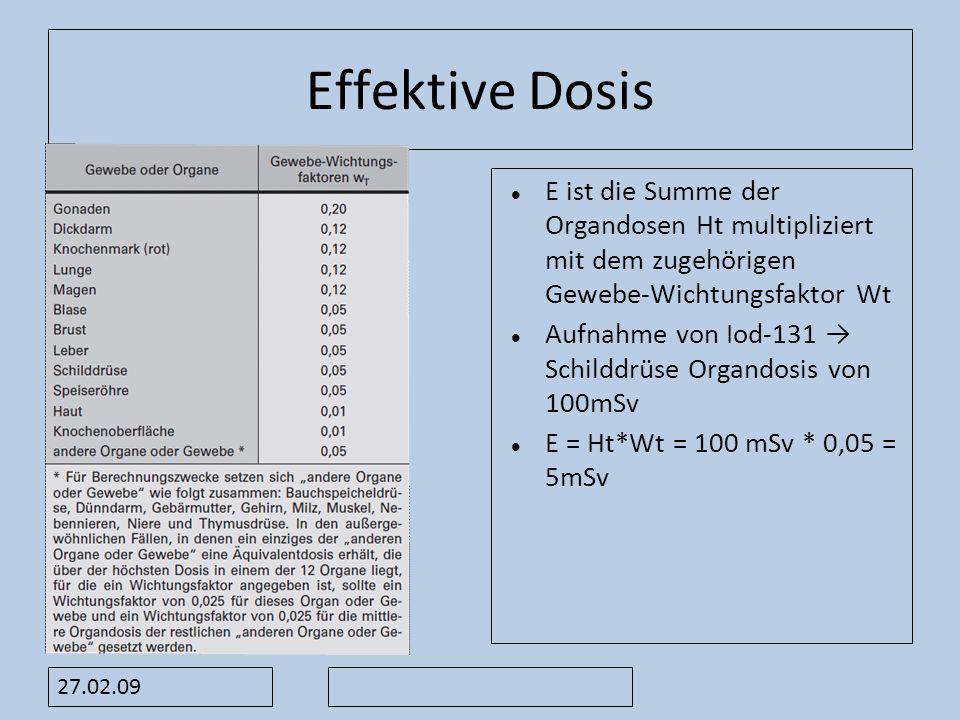 Effektive Dosis E ist die Summe der Organdosen Ht multipliziert mit dem zugehörigen Gewebe-Wichtungsfaktor Wt Aufnahme von Iod-131 Schilddrüse Orgando