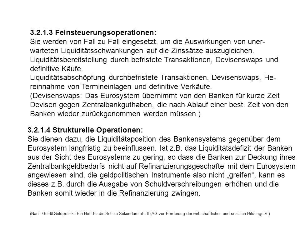 3.2.1.3 Feinsteuerungsoperationen: Sie werden von Fall zu Fall eingesetzt, um die Auswirkungen von uner- warteten Liquiditätsschwankungen auf die Zins