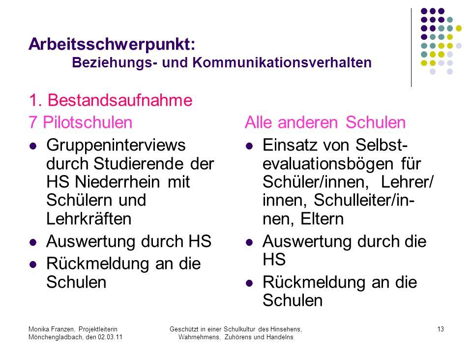 Monika Franzen, Projektleiterin Mönchengladbach, den 02.03.11 Geschützt in einer Schulkultur des Hinsehens, Wahrnehmens, Zuhörens und Handelns 13 Arbeitsschwerpunkt: Beziehungs- und Kommunikationsverhalten 1.