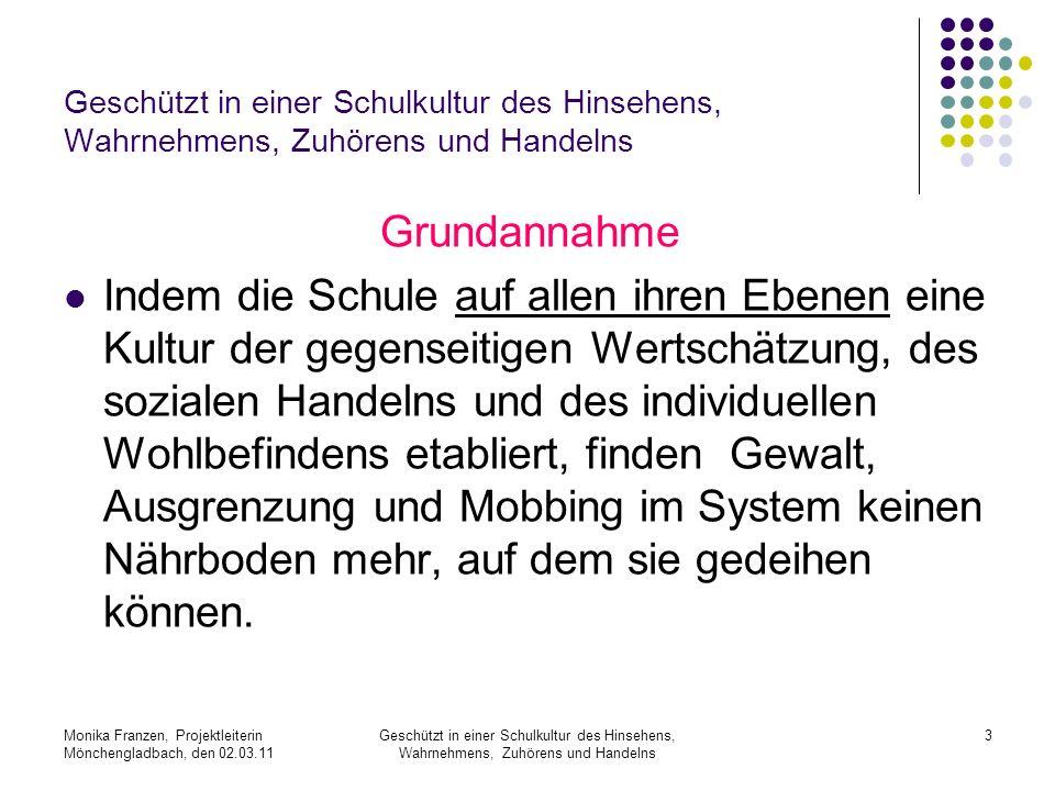 Monika Franzen, Projektleiterin Mönchengladbach, den 02.03.11 Geschützt in einer Schulkultur des Hinsehens, Wahrnehmens, Zuhörens und Handelns 14 Schulen aller Schulformen können mitmachen.