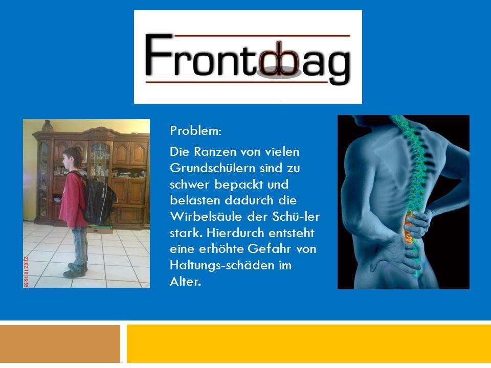 Problem: Die Ranzen von vielen Grundschülern sind zu schwer bepackt und belasten dadurch die Wirbelsäule der Schü-ler stark.