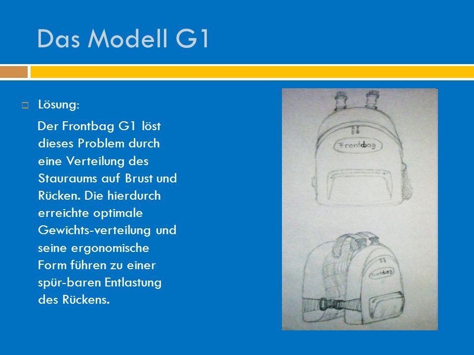 Das Modell G1 Lösung: Der Frontbag G1 löst dieses Problem durch eine Verteilung des Stauraums auf Brust und Rücken. Die hierdurch erreichte optimale G