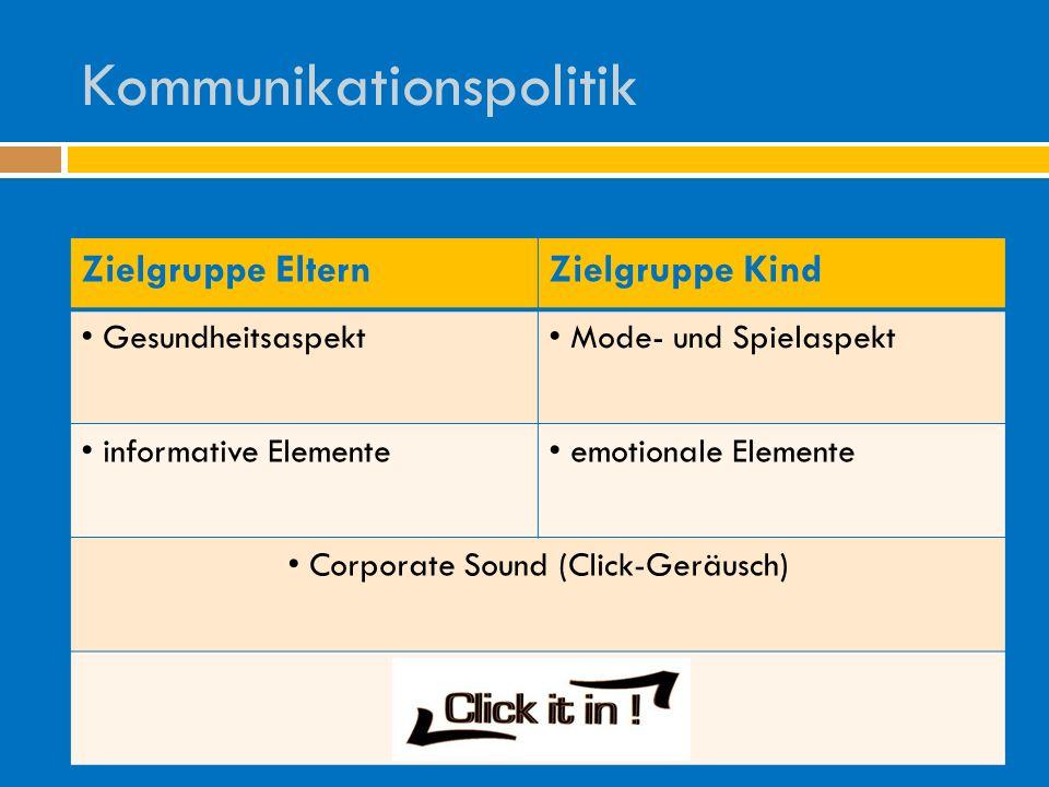 Kommunikationspolitik Zielgruppe ElternZielgruppe Kind Gesundheitsaspekt Mode- und Spielaspekt informative Elemente emotionale Elemente Corporate Sound (Click-Geräusch)