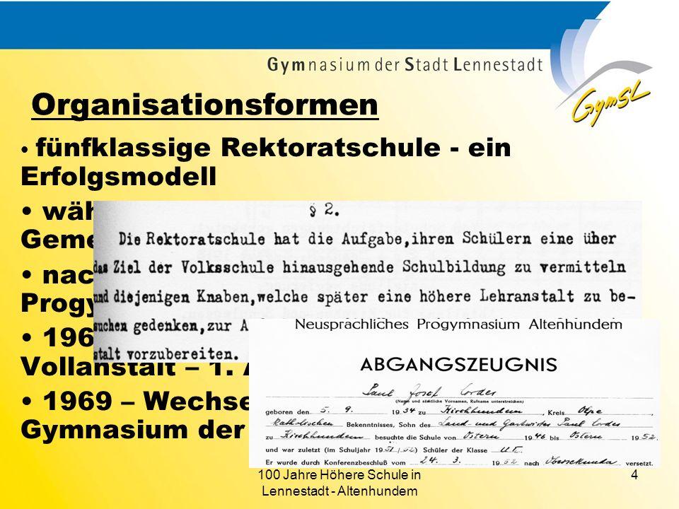 100 Jahre Höhere Schule in Lennestadt - Altenhundem 4 Organisationsformen fünfklassige Rektoratschule - ein Erfolgsmodell während der NS-Zeit Umbenenn