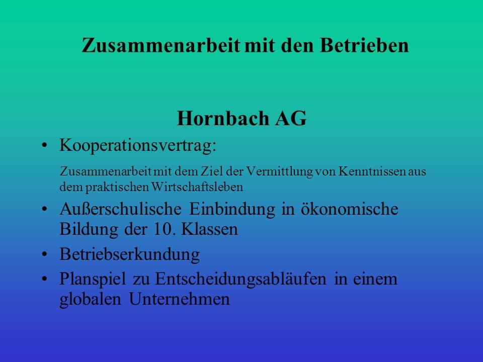 Zusammenarbeit mit den Betrieben Hornbach AG Kooperationsvertrag: Zusammenarbeit mit dem Ziel der Vermittlung von Kenntnissen aus dem praktischen Wirt