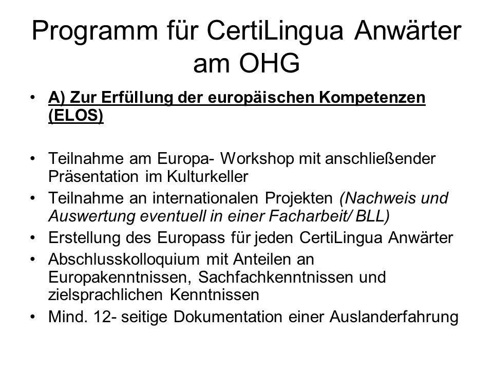 Programm für CertiLingua Anwärter am OHG A) Zur Erfüllung der europäischen Kompetenzen (ELOS) Teilnahme am Europa- Workshop mit anschließender Präsentation im Kulturkeller Teilnahme an internationalen Projekten (Nachweis und Auswertung eventuell in einer Facharbeit/ BLL) Erstellung des Europass für jeden CertiLingua Anwärter Abschlusskolloquium mit Anteilen an Europakenntnissen, Sachfachkenntnissen und zielsprachlichen Kenntnissen Mind.