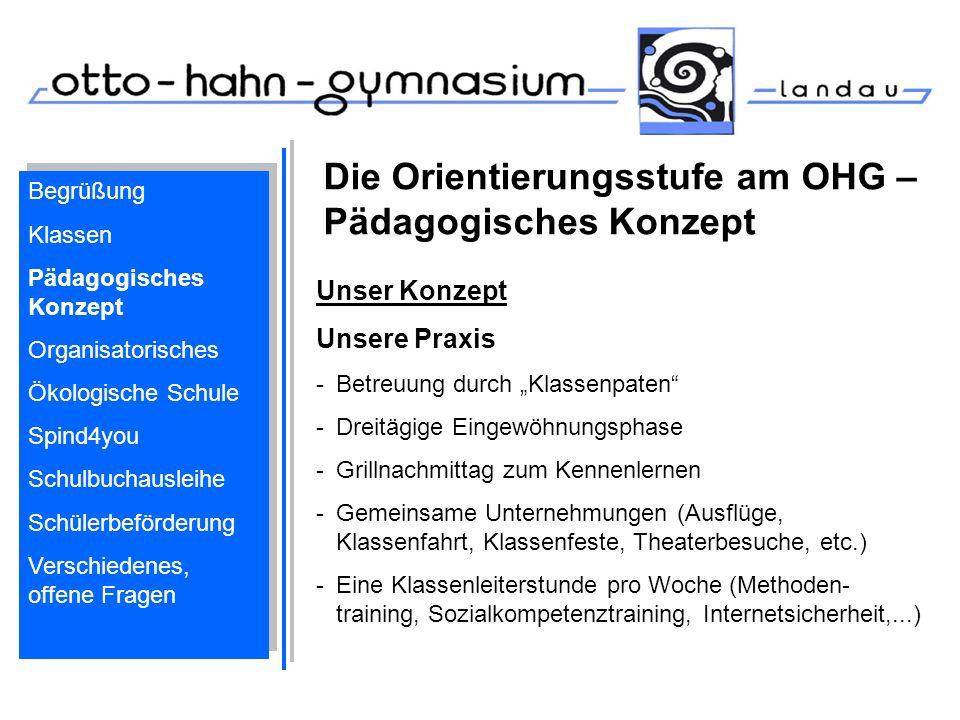 Die Orientierungsstufe am OHG – Pädagogisches Konzept Unser Konzept Unsere Praxis -Betreuung durch Klassenpaten -Dreitägige Eingewöhnungsphase -Grilln