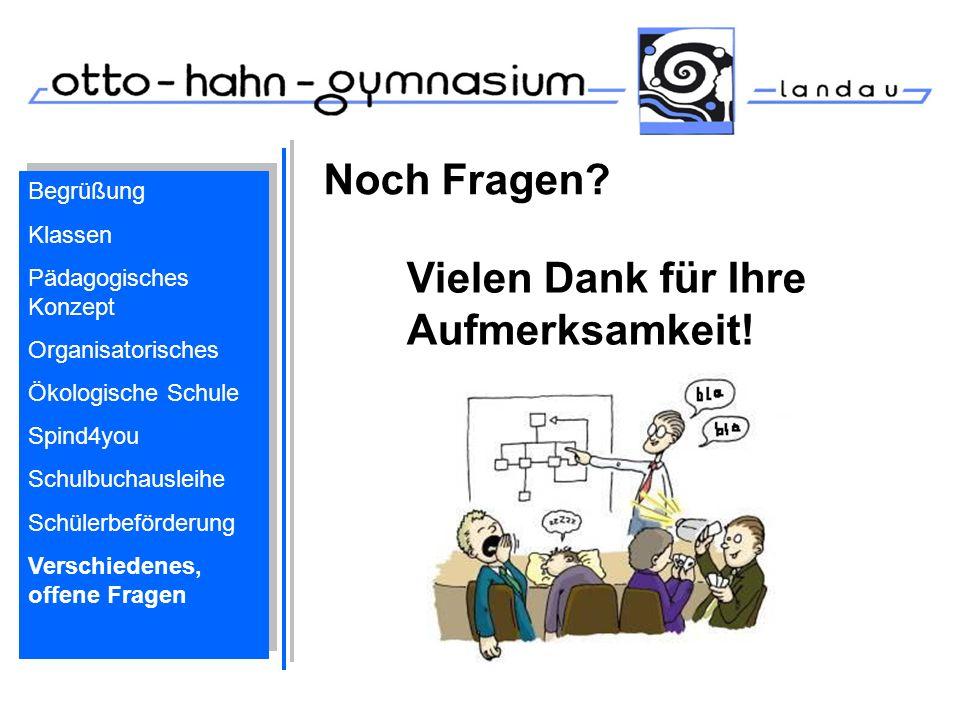 Noch Fragen? Vielen Dank für Ihre Aufmerksamkeit! Begrüßung Klassen Pädagogisches Konzept Organisatorisches Ökologische Schule Spind4you Schulbuchausl