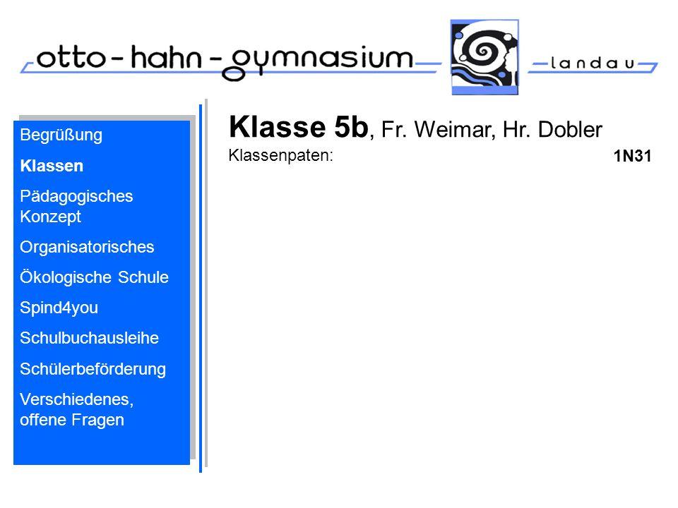 Klasse 5b, Fr. Weimar, Hr. Dobler Klassenpaten: 1N31 Begrüßung Klassen Pädagogisches Konzept Organisatorisches Ökologische Schule Spind4you Schulbucha