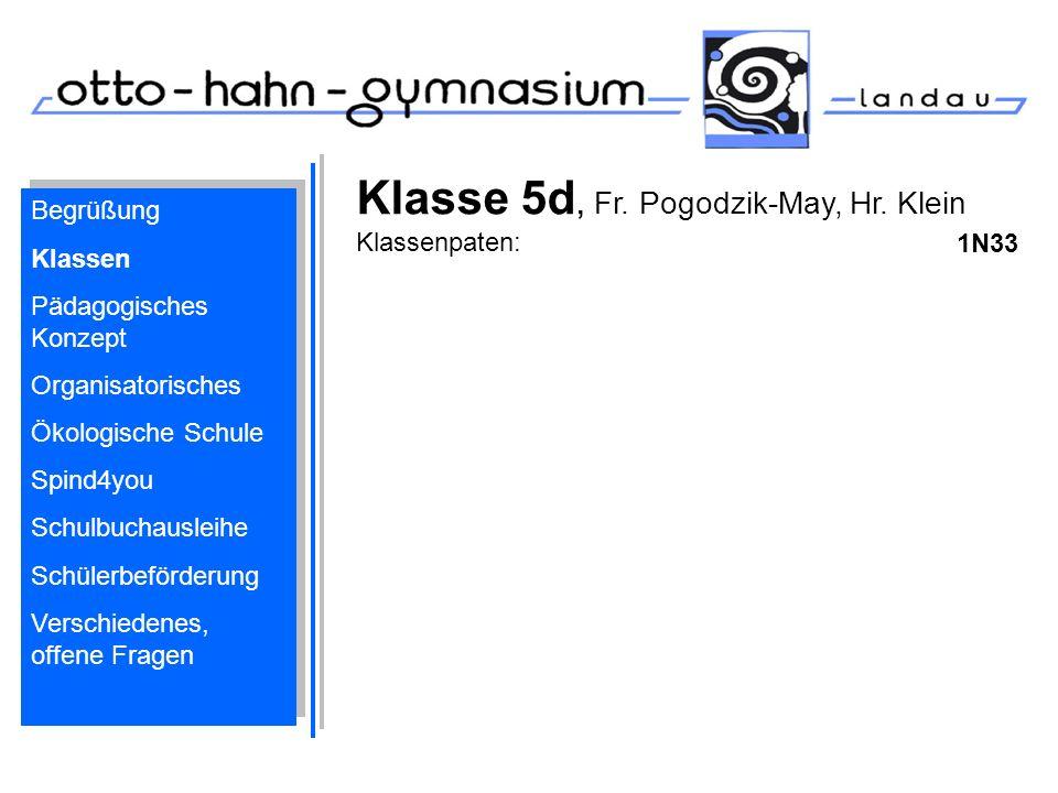 Klasse 5d, Fr. Pogodzik-May, Hr. Klein Klassenpaten: 1N33 Begrüßung Klassen Pädagogisches Konzept Organisatorisches Ökologische Schule Spind4you Schul