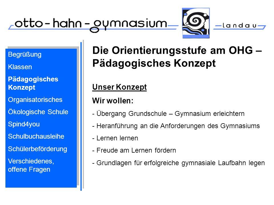 Die Orientierungsstufe am OHG – Pädagogisches Konzept Unser Konzept Wir wollen: - Übergang Grundschule – Gymnasium erleichtern - Heranführung an die A