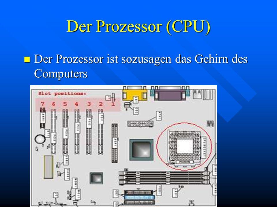 Der Prozessor (CPU) Der Prozessor ist sozusagen das Gehirn des Computers Der Prozessor ist sozusagen das Gehirn des Computers