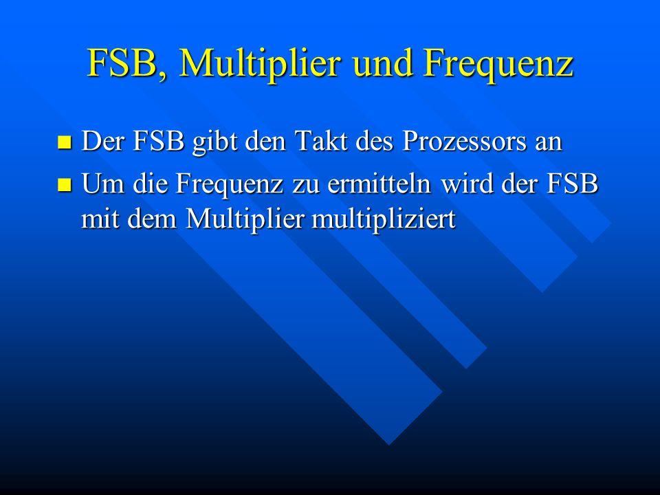 FSB, Multiplier und Frequenz Der FSB gibt den Takt des Prozessors an Der FSB gibt den Takt des Prozessors an Um die Frequenz zu ermitteln wird der FSB