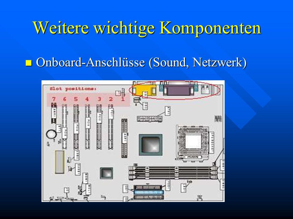 Weitere wichtige Komponenten Onboard-Anschlüsse (Sound, Netzwerk) Onboard-Anschlüsse (Sound, Netzwerk)