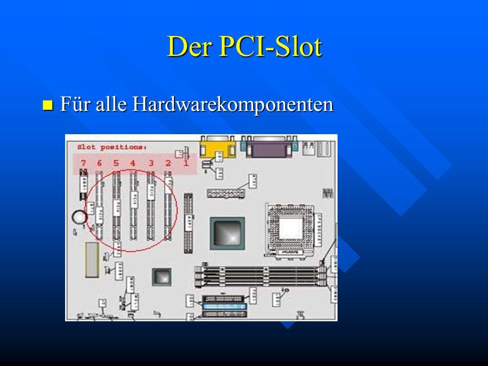Der PCI-Slot Für alle Hardwarekomponenten Für alle Hardwarekomponenten