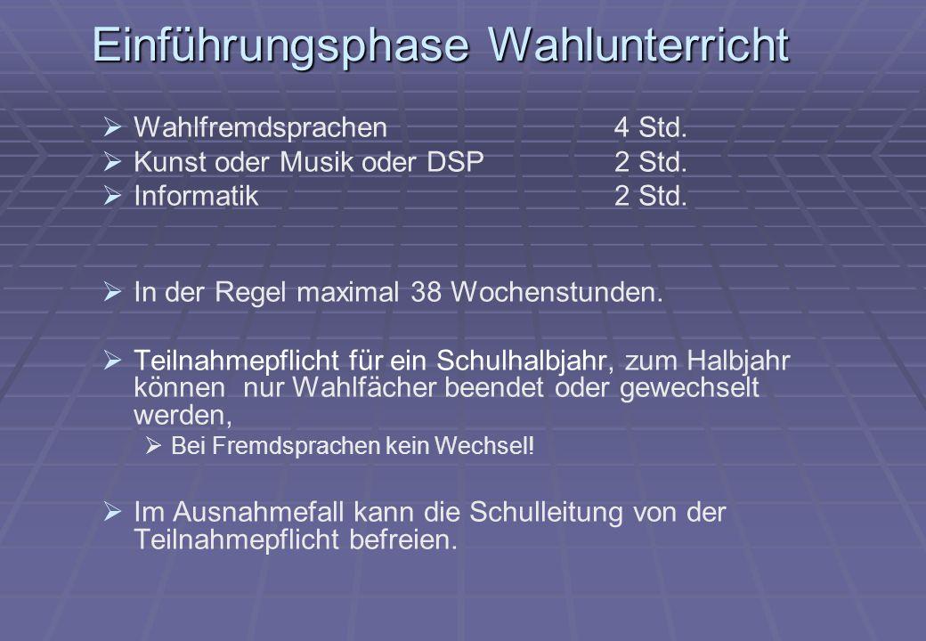 Einführungsphase Wahlunterricht Wahlfremdsprachen4 Std.