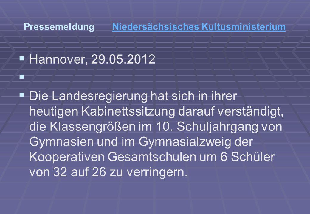 Pressemeldung Niedersächsisches KultusministeriumNiedersächsisches Kultusministerium Hannover, 29.05.2012 Die Landesregierung hat sich in ihrer heutigen Kabinettssitzung darauf verständigt, die Klassengrößen im 10.
