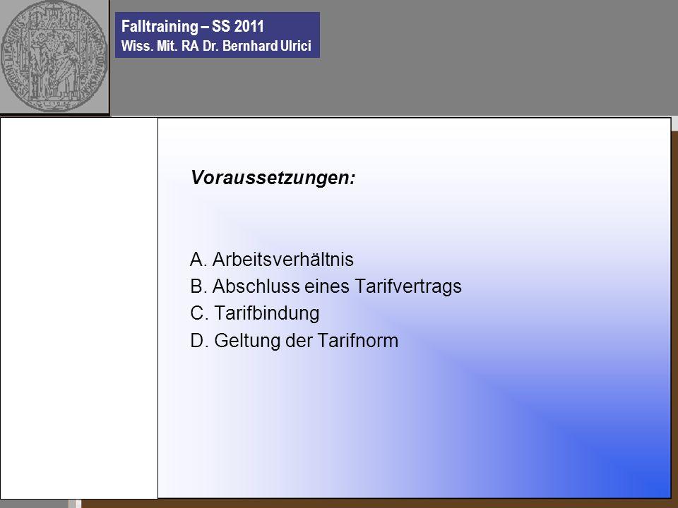 Falltraining – SS 2011 Wiss. Mit. RA Dr. Bernhard Ulrici Voraussetzungen: A.