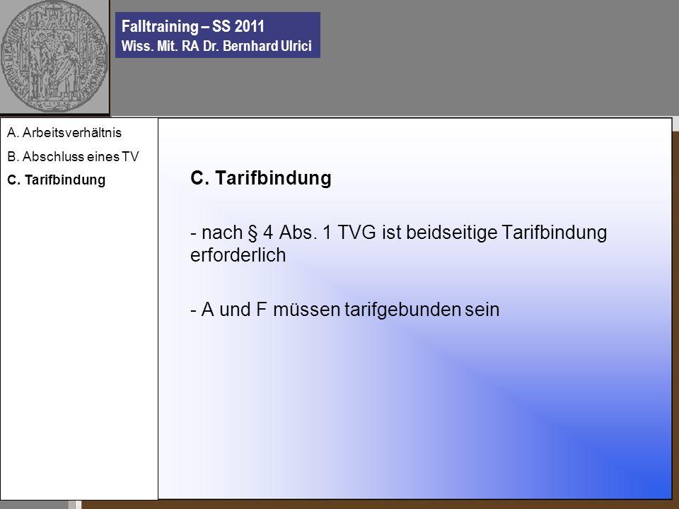 Falltraining – SS 2011 Wiss. Mit. RA Dr. Bernhard Ulrici C.