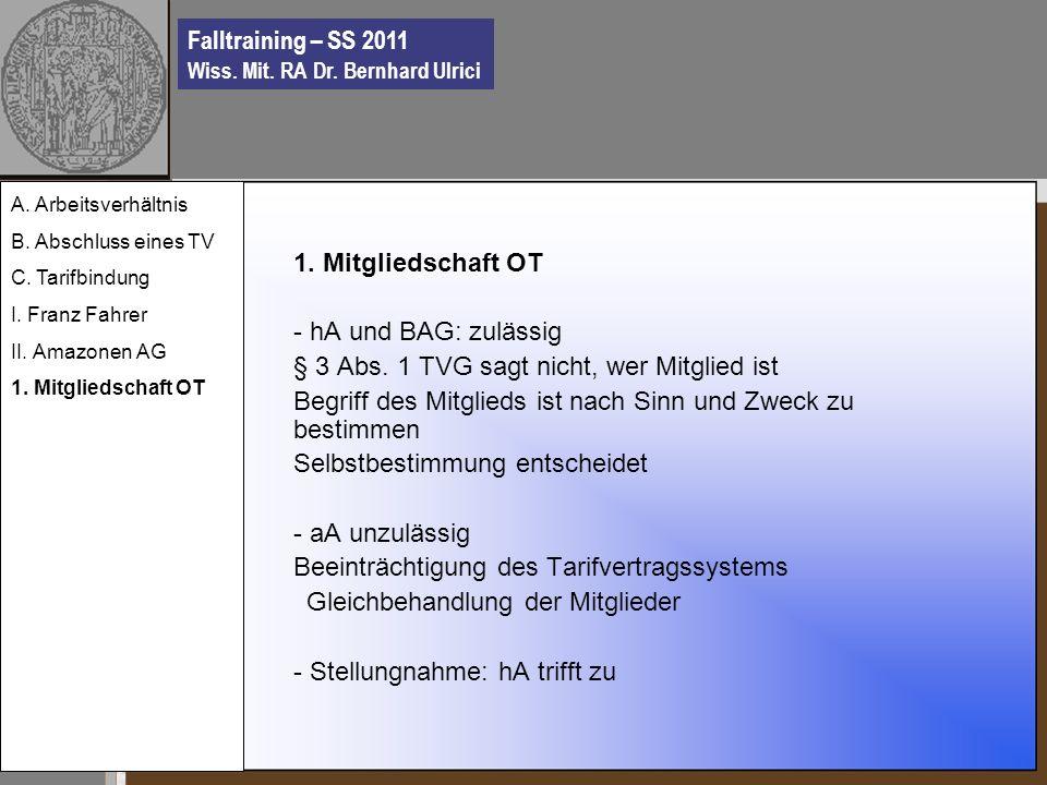 Falltraining – SS 2011 Wiss. Mit. RA Dr. Bernhard Ulrici 1.