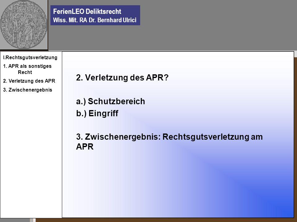 FerienLEO Deliktsrecht Wiss.Mit. RA Dr. Bernhard Ulrici II.