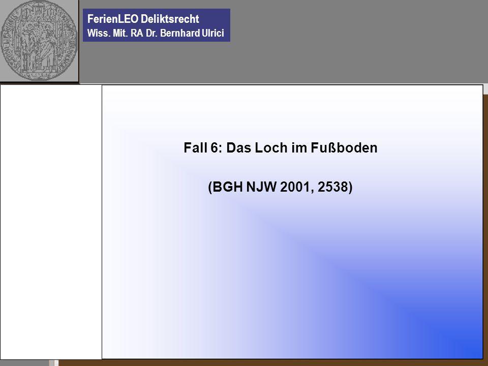 FerienLEO Deliktsrecht Wiss. Mit. RA Dr. Bernhard Ulrici Fall 6: Das Loch im Fußboden (BGH NJW 2001, 2538)