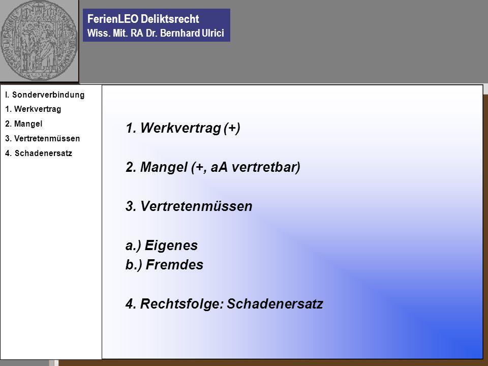 FerienLEO Deliktsrecht Wiss. Mit. RA Dr. Bernhard Ulrici 1. Werkvertrag (+) 2. Mangel (+, aA vertretbar) 3. Vertretenmüssen a.) Eigenes b.) Fremdes 4.