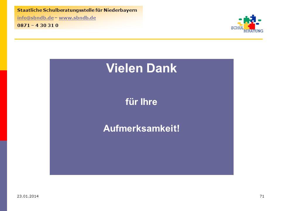 23.01.201471 Staatliche Schulberatungsstelle für Niederbayern info@sbndb.deinfo@sbndb.de – www.sbndb.dewww.sbndb.de 0871 – 4 30 31 0 Vielen Dank für Ihre Aufmerksamkeit!