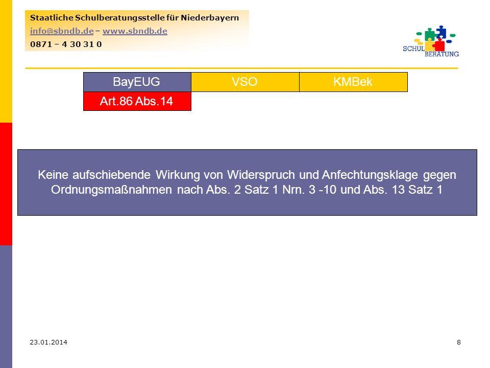 23.01.20148 Staatliche Schulberatungsstelle für Niederbayern info@sbndb.deinfo@sbndb.de – www.sbndb.dewww.sbndb.de 0871 – 4 30 31 0 VSOKMBekBayEUG Art