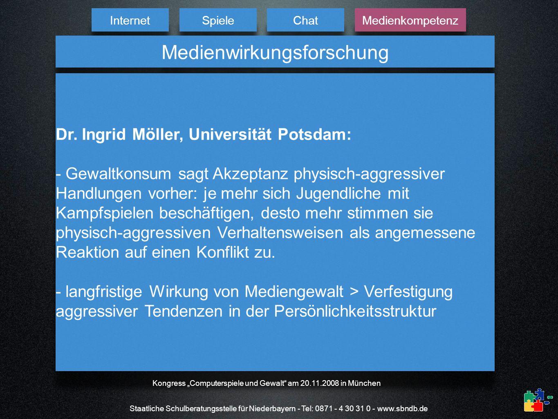 Internet Spiele Chat Medienkompetenz Staatliche Schulberatungsstelle für Niederbayern - Tel: 0871 - 4 30 31 0 - www.sbndb.de Medienwirkungsforschung D